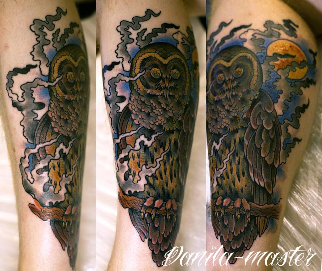 Художественная татуировка Сова. Данила - Мастер