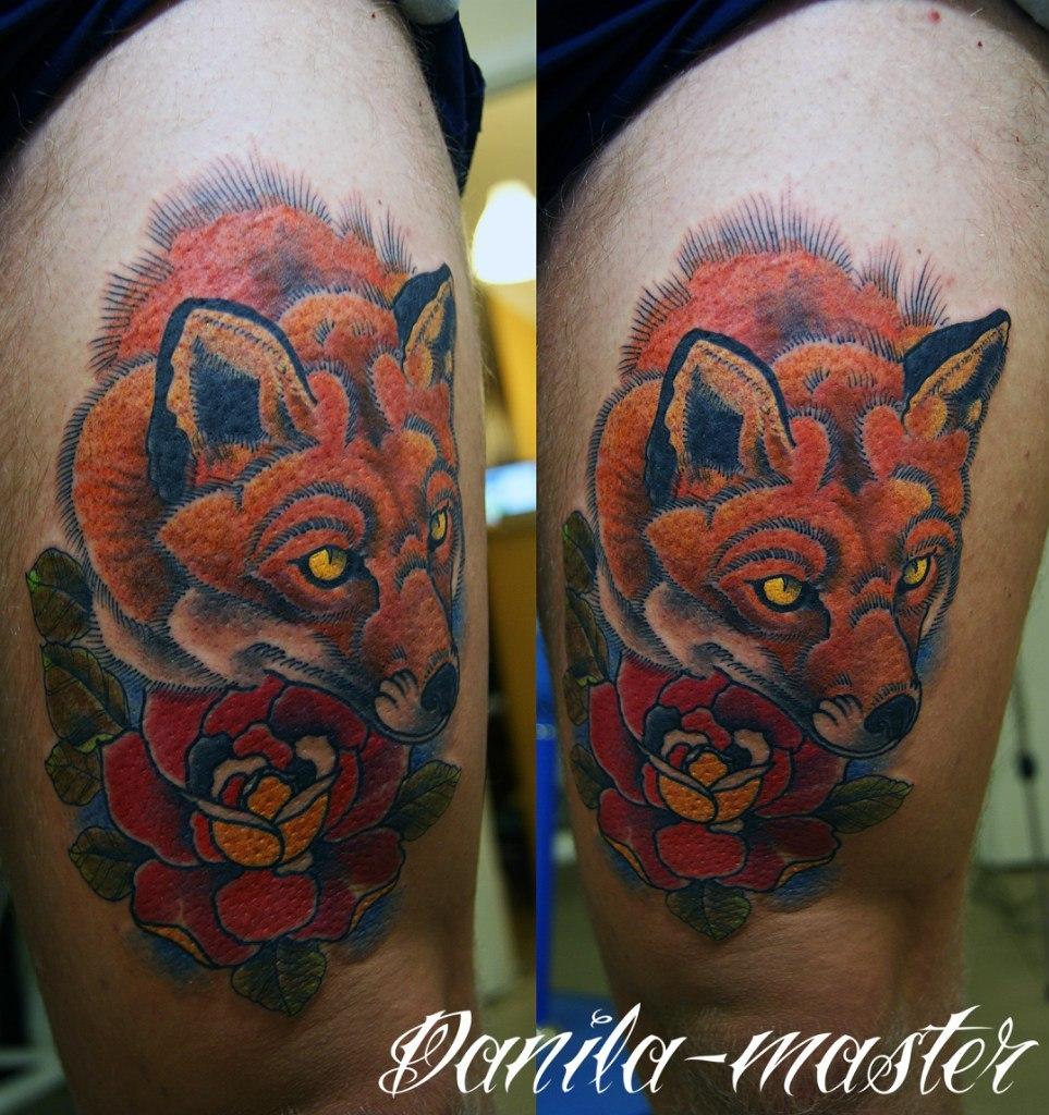 Художественная татуировка Лиса. Данила - мастер.