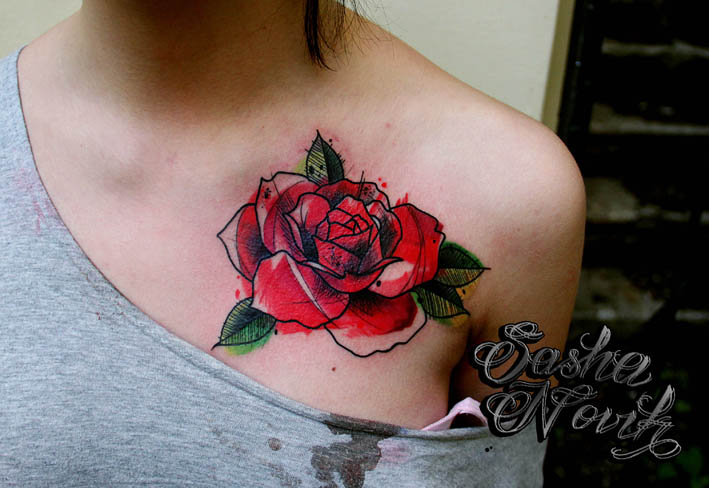 """Художественная татуировка """"Роза"""". Мастер Александр. Расположение: грудь."""