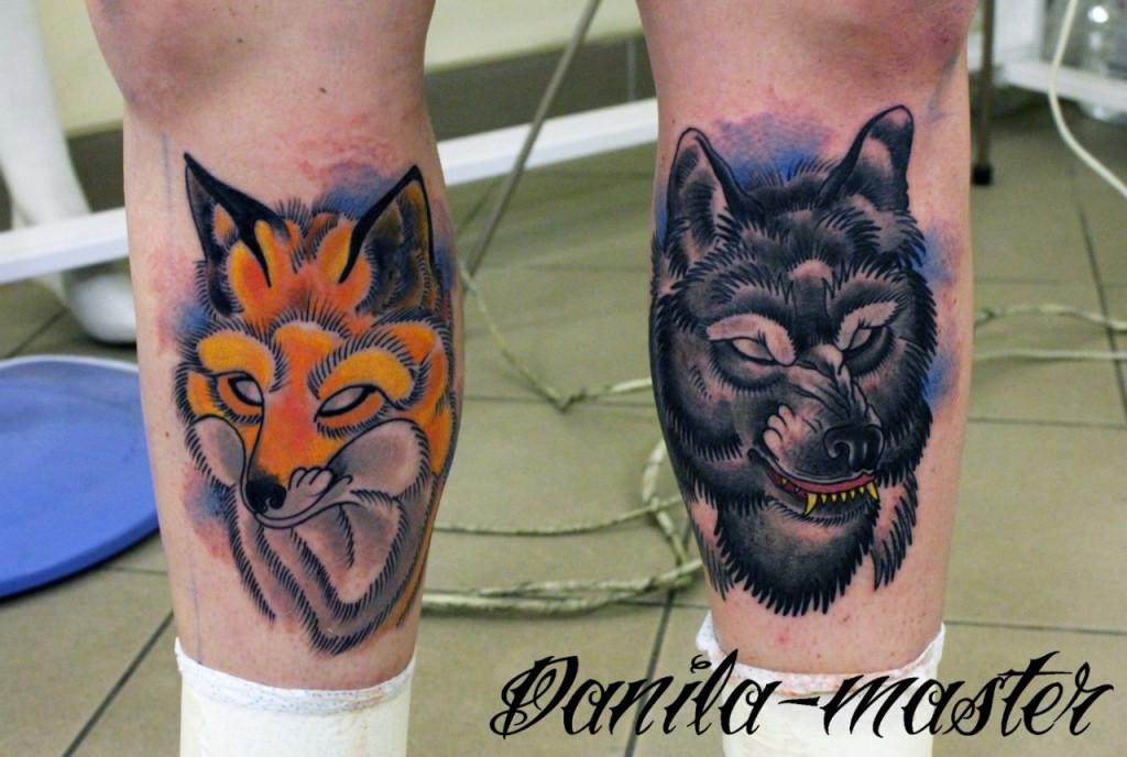 Художественная татуировка Волк и Лиса. Данила - Мастер.