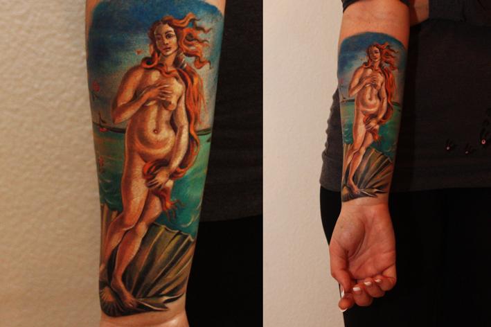 """Художественная татуировка """"Венера"""". Мастер Саша Unisex. Расположение: предплечье."""