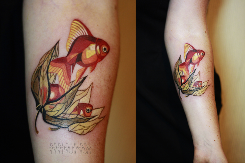 Художественная татуировка «Кролики». Мастер Саша Unisex. Расположение: предплечье.