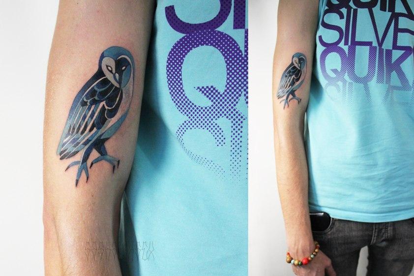 """Художественная татуировка: """"Совушка"""". Мастер Саша Unisex. Расположение: предплечье."""