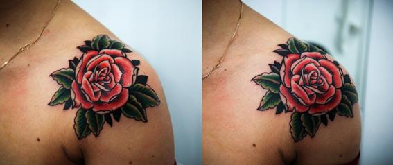 """Художественная татуировка """"Роза"""". Мастер Денис Марахин. Расположение: плечо."""