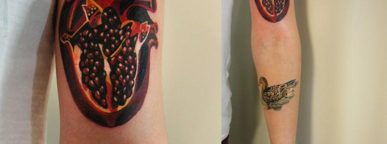 Художественная татуировка «Сердце-гранат». Мастер Саша Unisex. Расположение: предплечье.