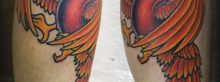 Художественная татуировка «птица Феникс». Мастер Женя-Химик.