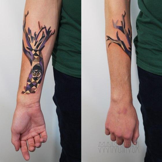 Художественная татуировка «Сова в дереве». Мастер Саша Unisex.