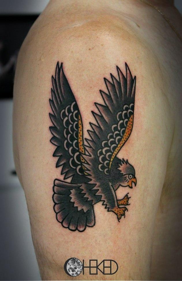 Художественная татуировка «Орел». Мастер Алиса Чекед.