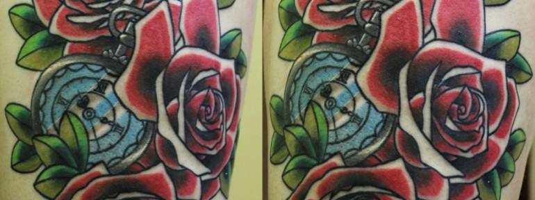 Художественная татуировка «Розы». Мастер Андрей Бойцев.