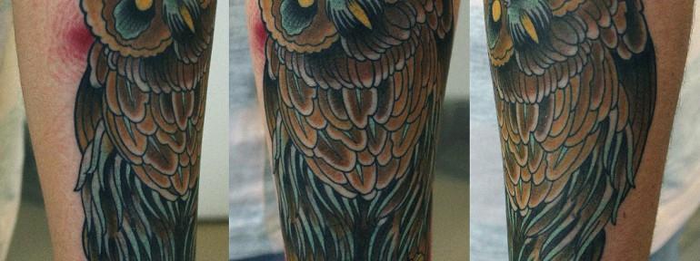 Художественная татуировка Сова от Данилы-Мастера