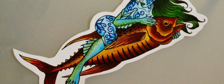 Эскиз русалка и золотая рыбка. мастер Виолетта Доморад.