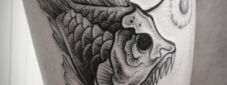 Худоественная татуировка Рыба-убийца от Саши Табунс