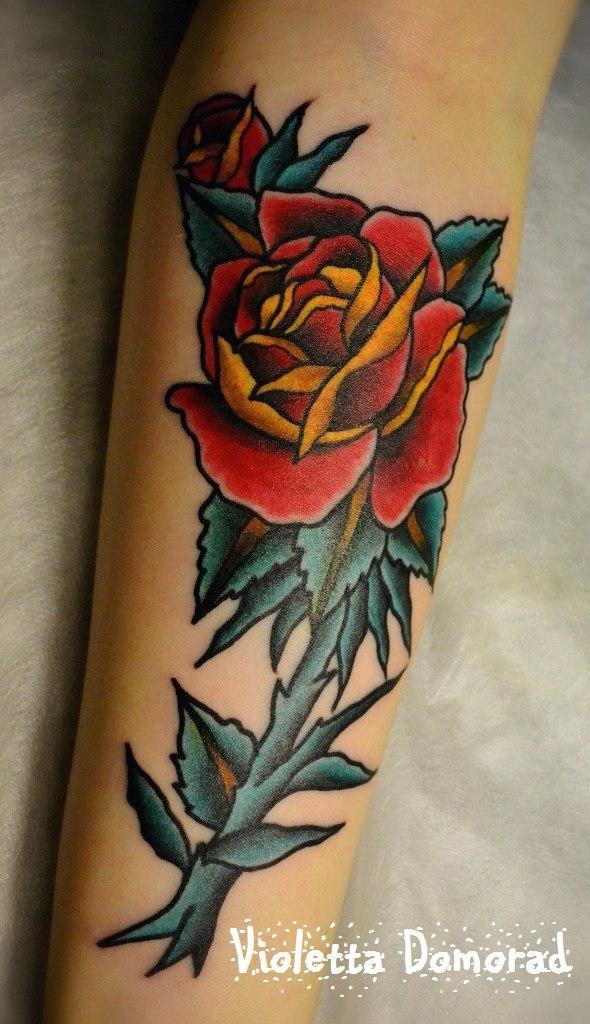 Тату ветка розы мастер виолетта