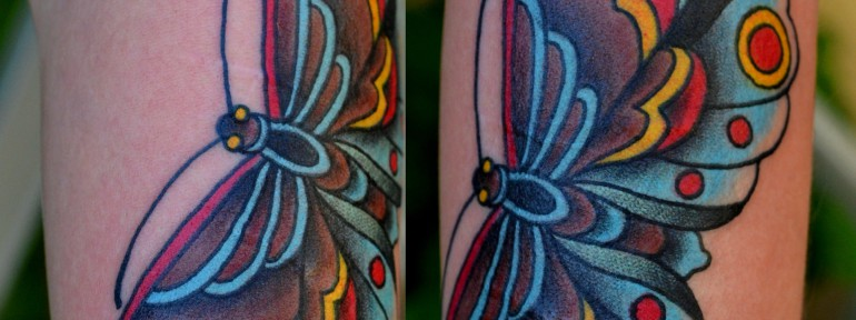Татуировка бабочка. Мастер Виолетта.