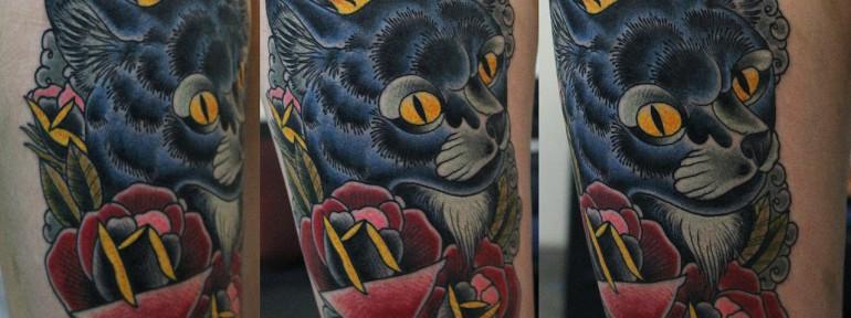Художественная татуировка «Котик» от Данилы-мастера.