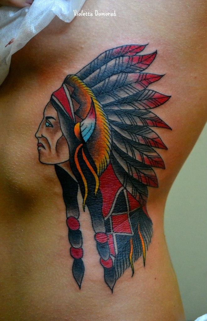 Татуировка индеец. Мастер Виолетта Доморад.