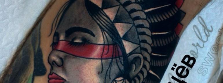 Татуировка «девушка». Мастер Егор Лещев.