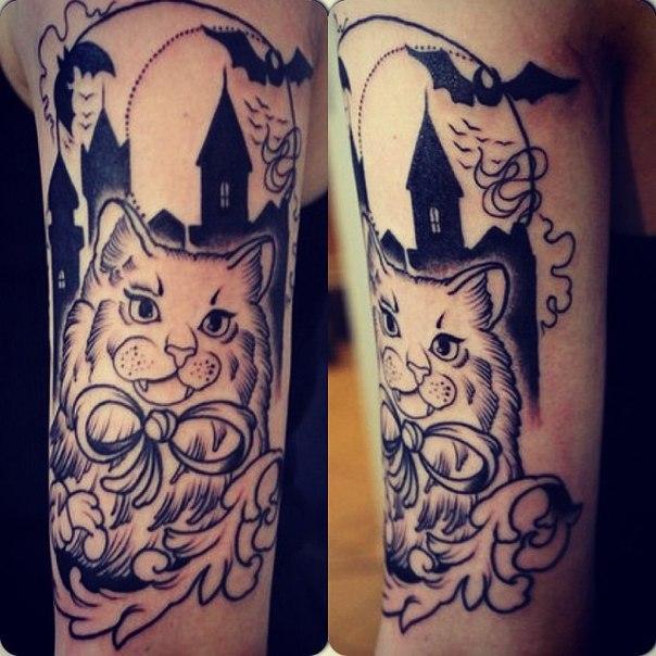 Художественная татуировка в процессе от Александра Соды.