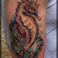 """Художественная татуировка """"Морской конек"""" от Александра Соды."""