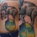 """Художественная татуировка """"Слон"""" от Александра Соды"""