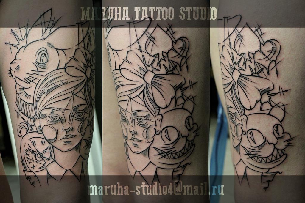 Татуировки с Чеширским котом из Алисы в Стране чудес