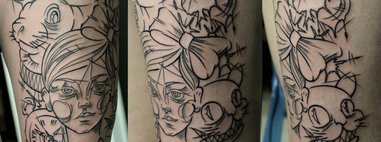 Художественная татуировка «Алиса в стране чудес». Мастер Валера Моргунов
