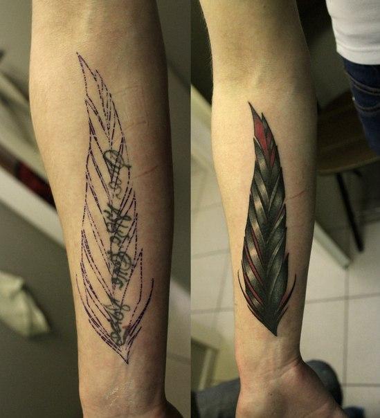Художественная татуировка «Перо». Мастер Валера Моргунов.