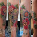 """Художественная татуировка """"Череп с розами"""" от Данилы - мастера."""