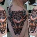 """Художественная татуировка """"Бык"""" от Данилы-мастера."""