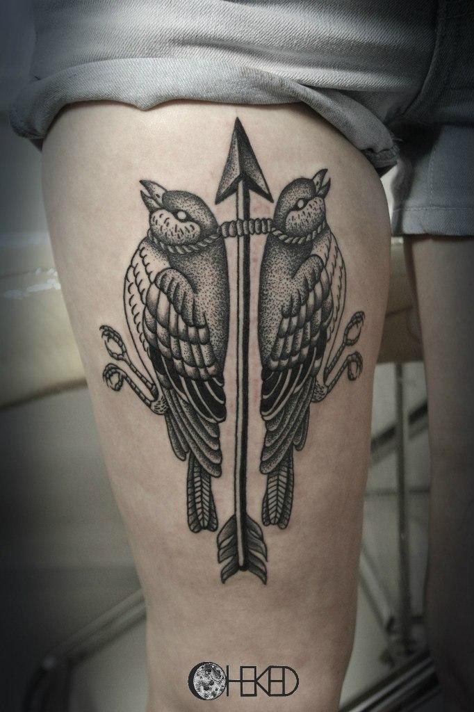 Художественная татуировка «Птицы». Мастер Алиса Чекед.