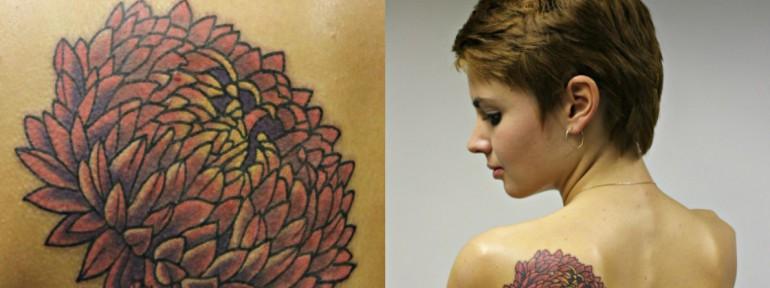 Художественная татуировка «Астра» от мастера Алисы Чекед.