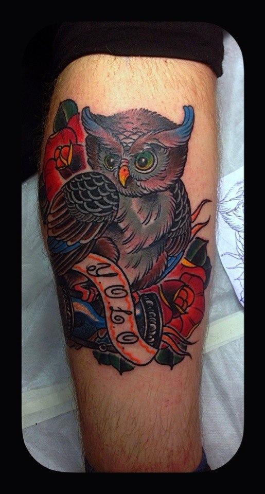 Татуировка «сова». Мастер Тем-Артем.
