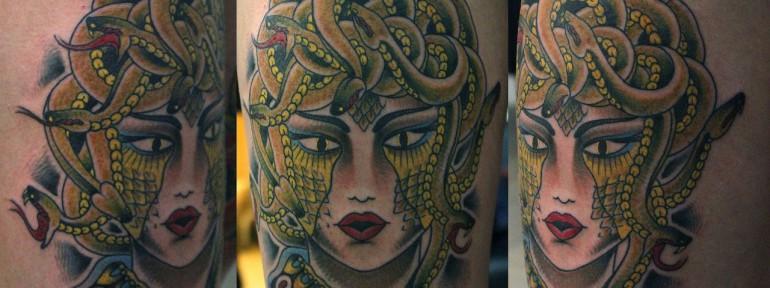 Художественная татуировка «Медуза Горгона». Данила-Мастер.
