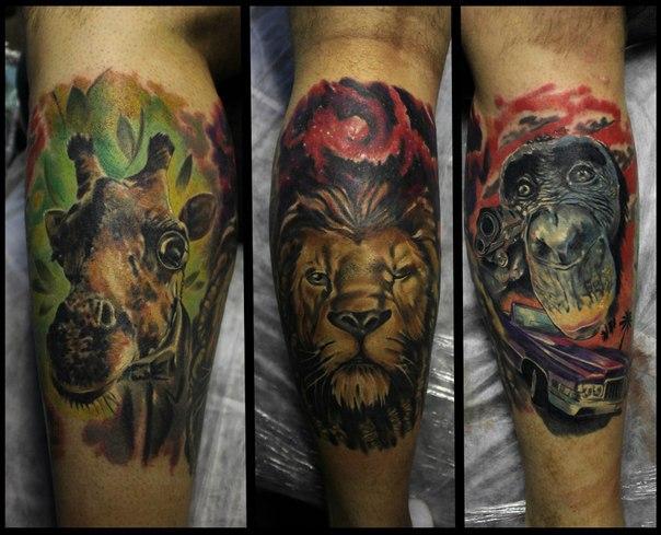 Художественная татуировка «Животные» от Сергея Хоррора