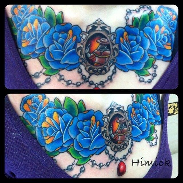 Художественная татуировка «Розы» от Евгения Химика.