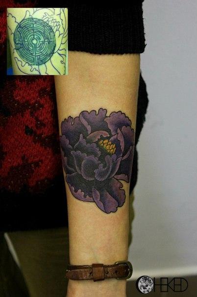 Перекрытие старой татуировки цветком. Мастер Алиса Чекед