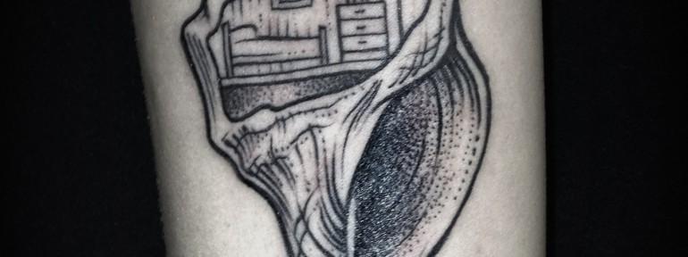 Художественная татуировка «Ракушка» Мастер Саша Табунс.
