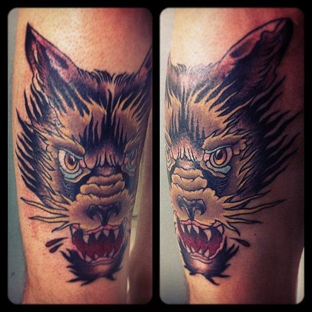 Художественная татуировка «Волк» от Валеры Моргунова.
