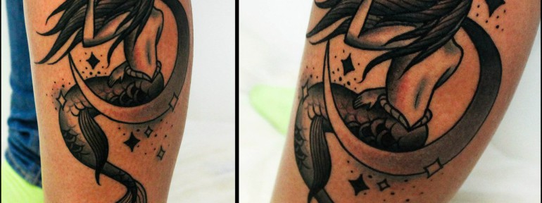 Художественная татуировка «Русалка». Мастер Денис Марахин.