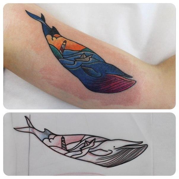 Художественная татуировка «Кит». Мастер Саша Новик.