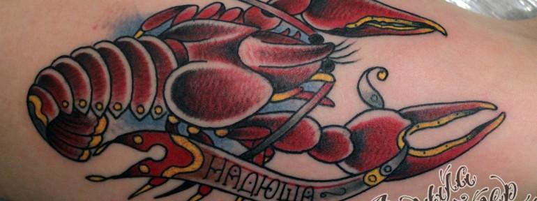 Художественная татуировка «Рак» от Данилы-мастера.