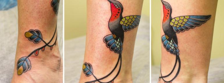 Художественная татуировка «Колибри». Мастер Ксения Волчок.