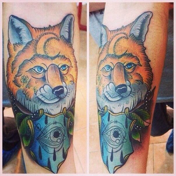 Художественная татуировка «Лис» от Александра Соды