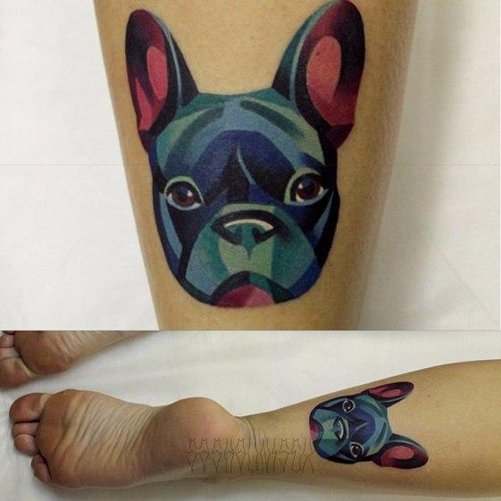 Художественная татуировка «Французский дог». Мастер Саша Unisex.