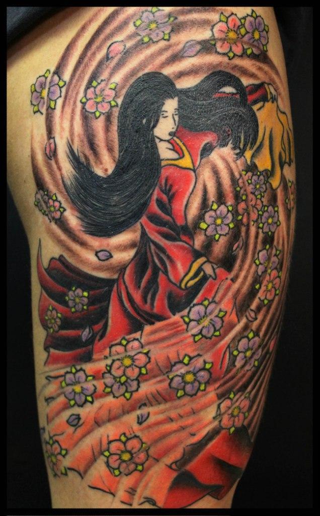 Художественная татуировка «Гейша» от Андрея Бойцева.