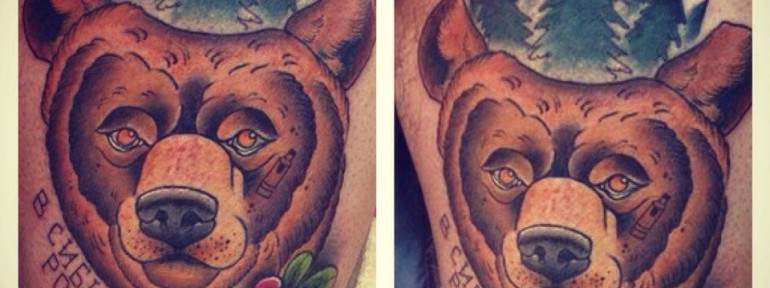 Художественная татуировка «Медведь из Сибири» от Александра Соды.