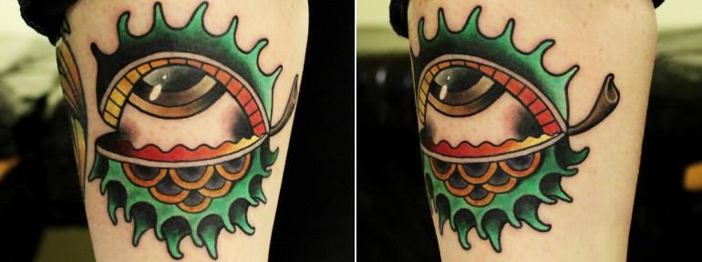 Художественная татуировка «Глаз- каштан» от мастера Ксении Волчок.