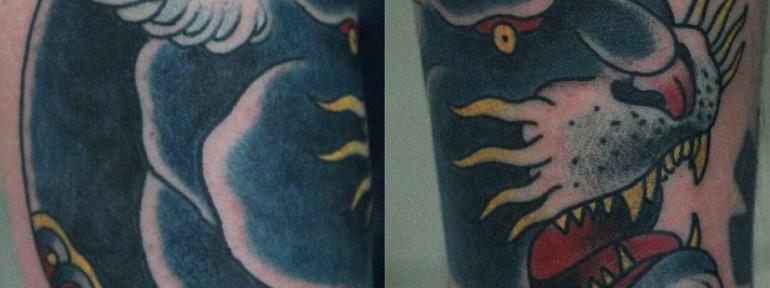Художественная татуировка «Пантера» от Данилы-мастера.