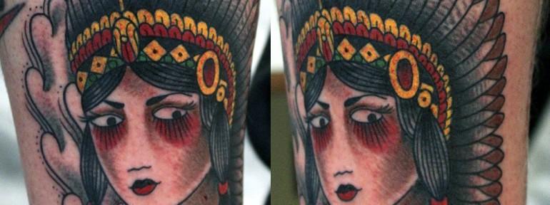 Художественная татуировка «Индианка» от Данилы-мастера.