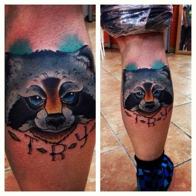 Художественная татуировка «Енотик» от Александра Соды